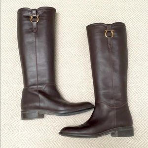 FERRAGAMO Brown leather boots with gold Gancini